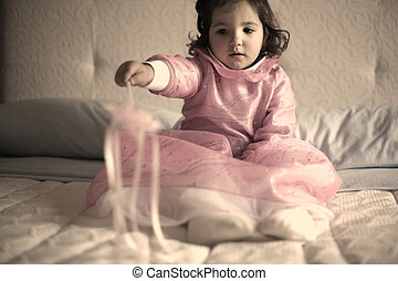 Little pink fairy with magic wand