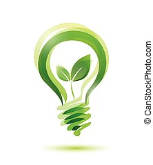 green bulb - green eco energy concept, plant growing inside...