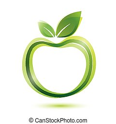 green apple logo-like icon, ecology and bio food concept