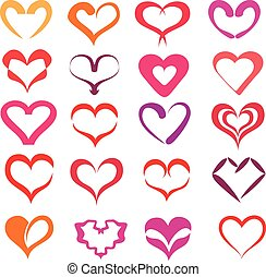 stylized hearts collection, ilsolated vector symbols