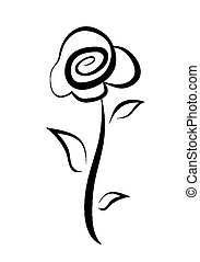 hand drawn rose symbol - hand drawn rose flower symbol,...
