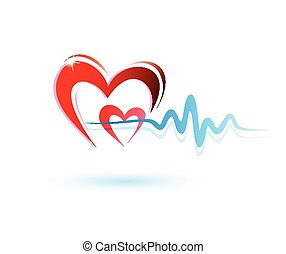 heart with ecg icon, medicine concept - hearts with ecg...