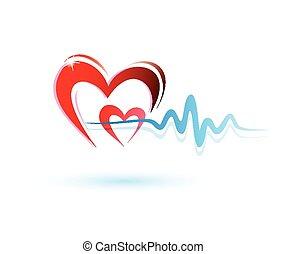 heart with ecg icon, medicine concept - hearts with ecg...
