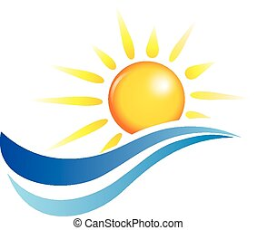 sun and water waves, vector design elements