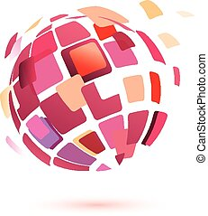 abstract globe symbol, isolated vector icon, business...