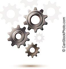 maskin, drev, hjul, kugghjul, vektor, ikon,