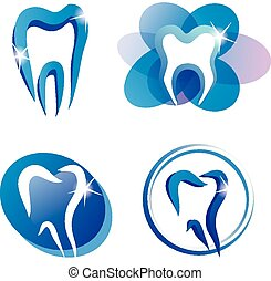 set of tooth stylized icons, isolated vector symbols