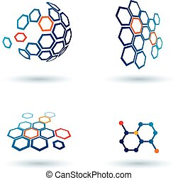 hexagonal abstract icons, business and communication...