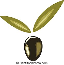 Stylized olive symbol isolated on a white background