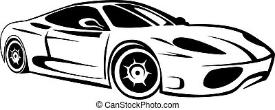 race car - Silhouette of sport car for racing sports
