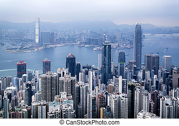 Hong Kong Skyline - Hong Kong skyline view from the Victoria...