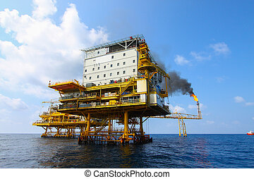 Oil and gas platform in the gulf or the sea, The world...