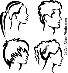 set of people protraits with haircuts, hand drawn...