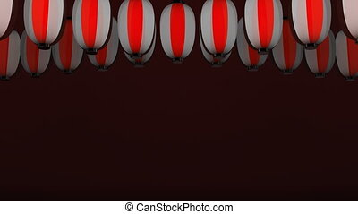 Red White Paper Lanterns On Red Background.