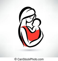 mom and baby vector symbol