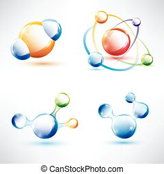 molecule structure, abstract glossy icons set, science and...