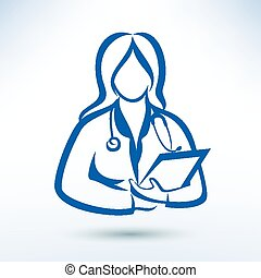 nurse, medical worker, outlined vector silhouette