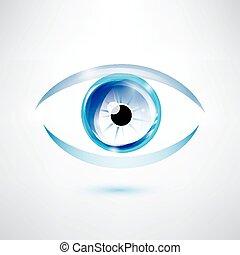 human blue eye, abstract shape