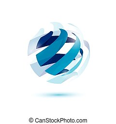 abstract globe symbol, isolated vector icon, internet and...