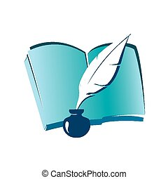 book and ink feather icon