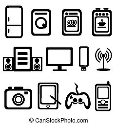 electric goods icons - electric goods of household appliance...