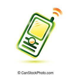 mobile phone single glossy icon