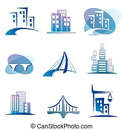 city icons - city vector icons set, construction concept