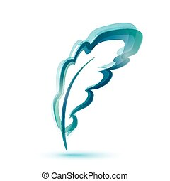 Abstract symbol of blue writing feather