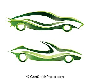 sport car stylized vector icons set