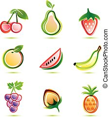 green fruits icons set, organic food concept