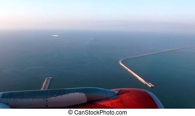 Airplane Landing in Barcelona Airport Spain View from a...