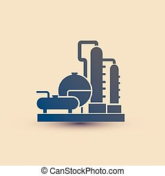 petrochemical plant symbol, refinery oil distillation icon