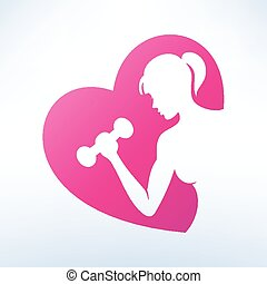 active woman doing fitness symbol, sport concept
