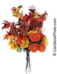 Autumn Bouquet - Artificial autumn flowers in a glass vase,...