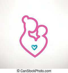 mother and baby symbol in a heart shape