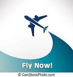 airplane icon, vector background