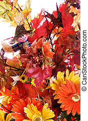 Fall Flowers - Closeup view of some fake fall flowers and...