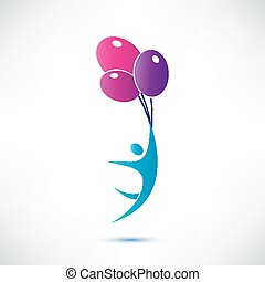 man holding air balloon, isolated vector icon