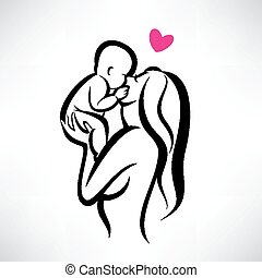 mother kissing her child, isolated vector symbol