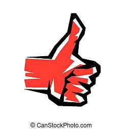 thumb up stylized vector symbol