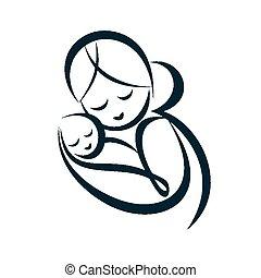 dela, Símbolo, jovem, stylized, vetorial, mãe, Abraços, bebê...