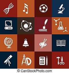 school icons set, subjects symbols
