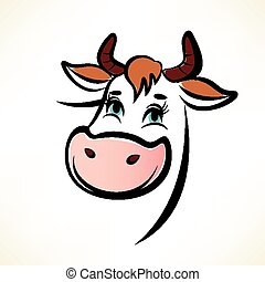 happy cow portrait, outlined vector symbol