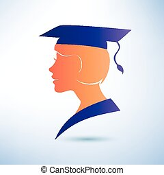 young woman silhouette with graduation cap