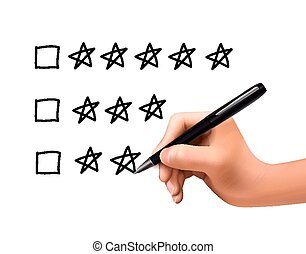 five star rating drawn by 3d hand over white background