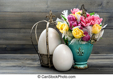 tulips, butterflies and vintage easter eggs decoration retro...