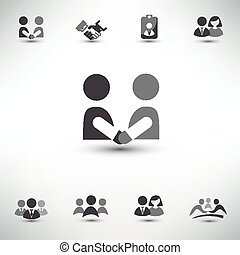 business people vector icons set