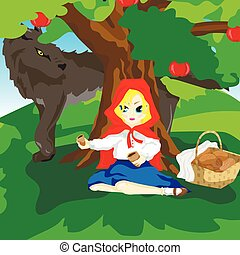 Little Red Hood and gray wolf - Girl sitting under a tree in...