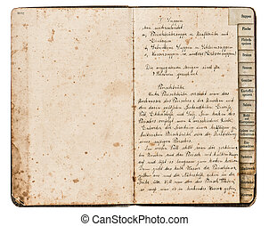 antique recipe book with handwritten text - open antique...