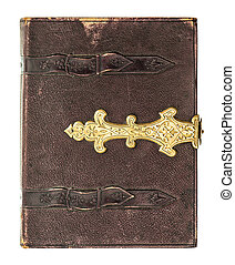 antique book cover with golden decoration